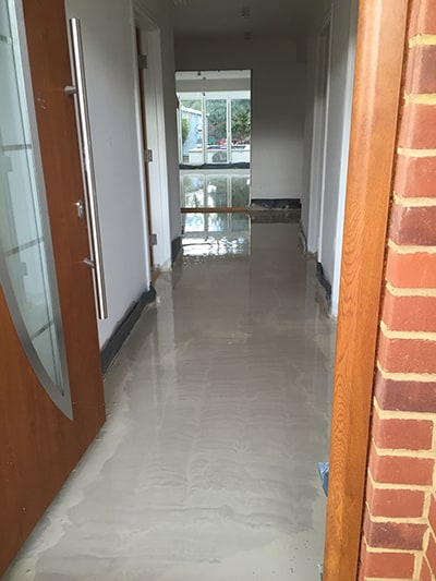 freshly applied screed in house