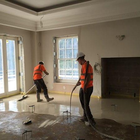 Screed floor, Wentworth Estate, Surrey - new build.